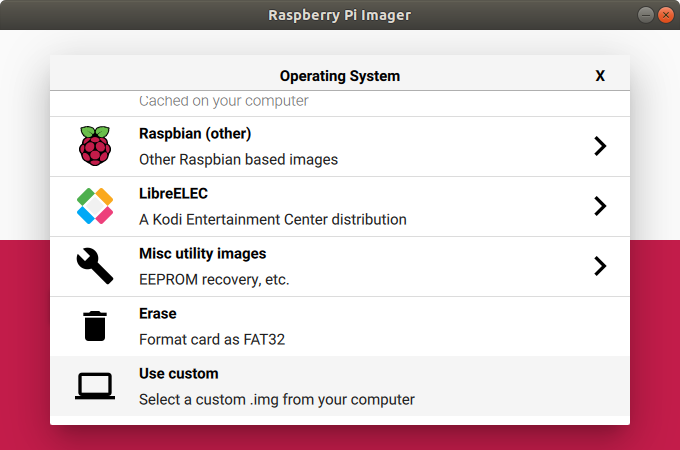 Choose OS for SD Card by Raspberry Pi Imager